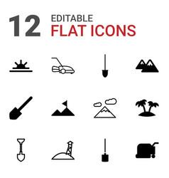 12 landscape icons vector image