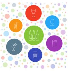 7 wine icons vector