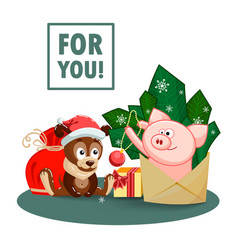 a puppy a bag gifts and a joyful pig jumping out vector image