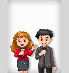 background template design with two reporters vector image