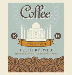 Banner with coffee beans and taj mahal in india vector