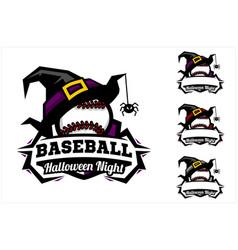baseball ball halloween hat logo vector image