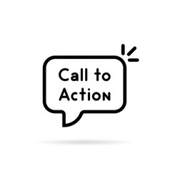 Black thin line call to action bubble vector