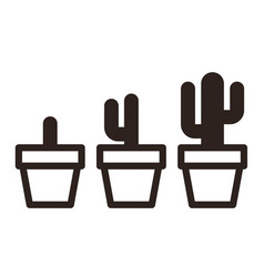 Cactus in pot set vector