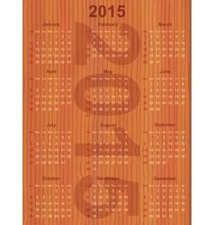 calendar 2015 on wood vector image
