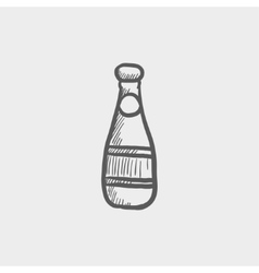 Champagne bottle sketch icon vector image