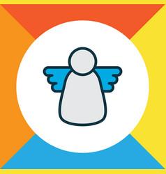 christmas angel icon colored line symbol premium vector image