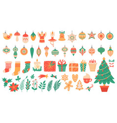 Christmas flat elements festive trees with toys vector