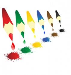 color pencils with blots vector image