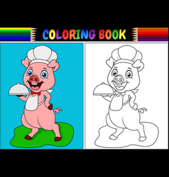 Coloring book with pig chef cartoon vector