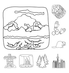 country canada outline icons in set collection for vector image