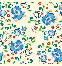 cream folk art pattern with blue bellflower vector image