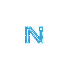creative n letter network logo symbol design vector image