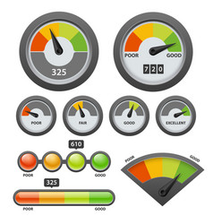 Credit score gauge icon set vector