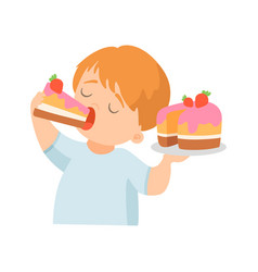 Cute little boy eating creamy cake with strawberry vector