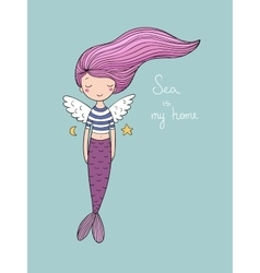 Cute little mermaid with wings Siren Sea theme vector