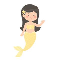 Cute mermaid girl yellow cartoon vector