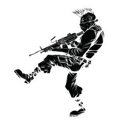 Drawing of a criminal in a mask that is vector