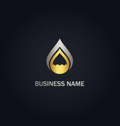 droplet eco water bio gold logo vector image
