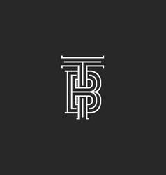 Elegant logo tb letters initials monogram vector