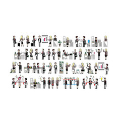 european business people isolated big set vector image