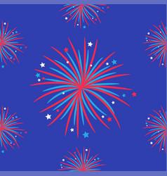 fireworks night sky seamless pattern happy vector image