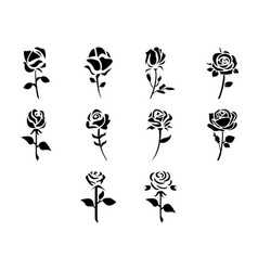 Flat black rose icon set vector