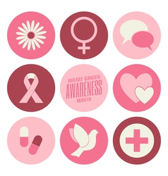 flat design breast cancer awareness pink icons set vector image