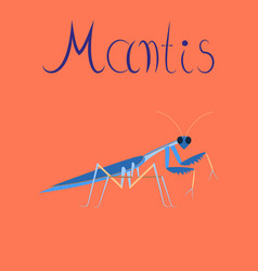 Flat on background mantis vector