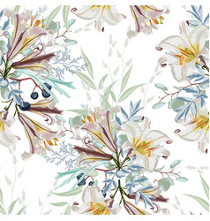 floral pattern with many kind flowers vector image