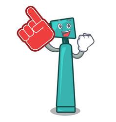 Foam finger otoscope mascot cartoon style vector