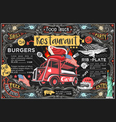 food truck menu and logo vector image