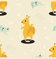 Funny seamless pattern with a dancing squirrel vector