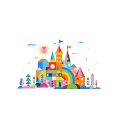 Geometric fairy tale kingdom knight and princess vector