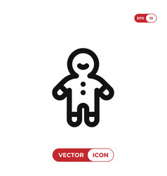 gingerbread man icon christmascookie symbol flat vector image