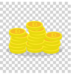 Golden bitcoins virtual currency ecash vector