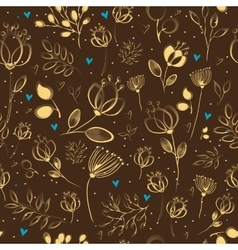 Graceful Golden Flowers Brown Seamless Pattern vector