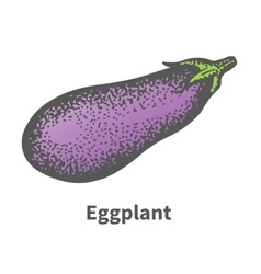 Hand-drawn mature big eggplant vector