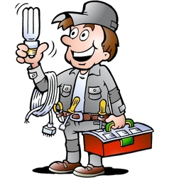 Hand-drawn of an happy Electrician Handyman vector