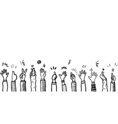 Hand drawn sketch style applause thumbs up vector
