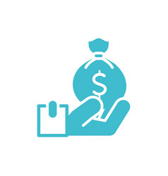 hand with money bag business finance color vector image