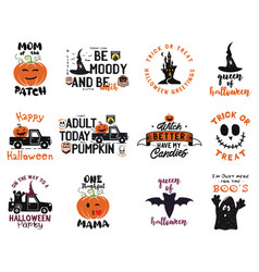 happy halloween emblems logo bundle holiday label vector image