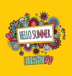 Hello Summer Hand Drawn Doodle Yellow vector