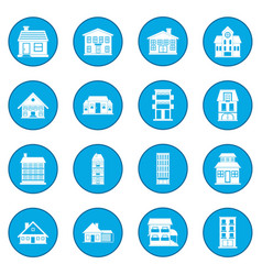 Houses icon blue vector