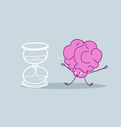 Human brain standing at sand watch time management vector