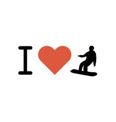 i love snowboarding heart vector image