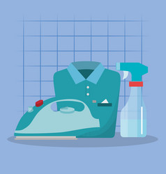 iron appliance with laundry service icons vector image