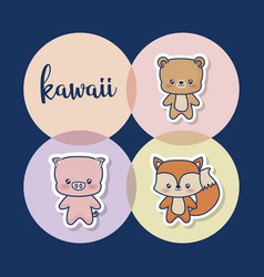 kawaii animals design vector image