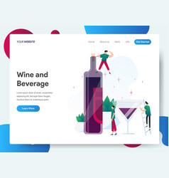 Landing page template wine and beverage vector