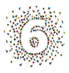large group of people in number 6 six form vector image